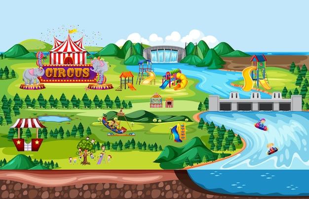 Scena del paesaggio del parco di divertimenti a tema e molte giostre con bambini felici