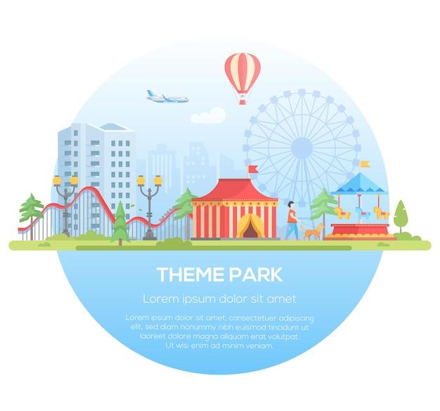 Parco a tema - illustrazione vettoriale di stile moderno design piatto in una cornice rotonda con posto per il testo su sfondo urbano. paesaggio urbano con attrazioni, padiglione del circo, grande ruota. concetto di intrattenimento