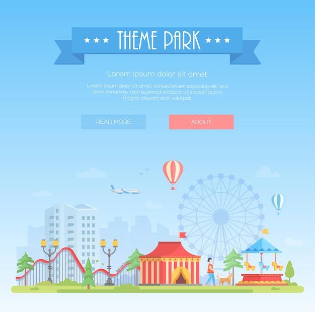 Parco a tema - illustrazione vettoriale di stile moderno design piatto su sfondo urbano con posto per il testo. titolo su nastro azzurro. paesaggio urbano con attrazioni, padiglione del circo, grande ruota. concetto di intrattenimento