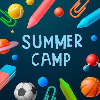 Poster a tema summer camp, giochi sportivi
