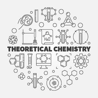 Illustrazione di icona linea rotonda concetto di chimica teorica