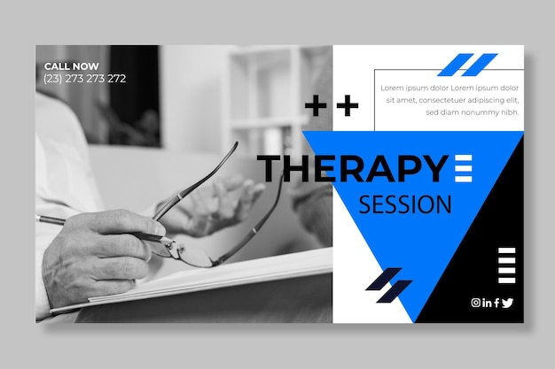 Modello di banner di sessioni di terapia