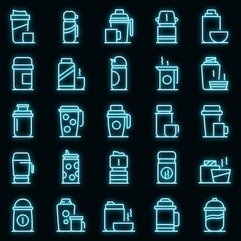 Le icone della tazza termica hanno impostato il vettore neon