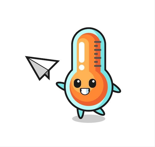 Personaggio dei cartoni animati termometro che lancia aeroplano di carta, design in stile carino per maglietta, adesivo, elemento logo