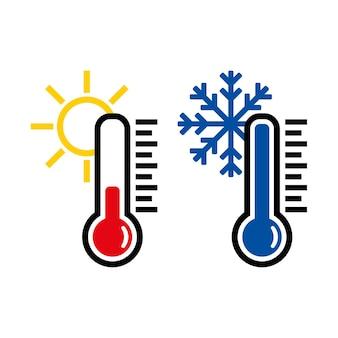 Icona del termometro o simbolo o emblema della temperatura, vettore e illustrazione