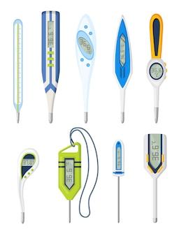 Set termometro. misurazione della temperatura corporea. termometro elettronico prevenzione principale coronavirus. insieme del fumetto