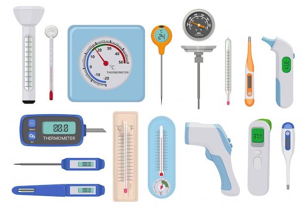 Termometri. la temperatura medica ospedaliera misura alti e bassi vari indicatori per misurare i contatori