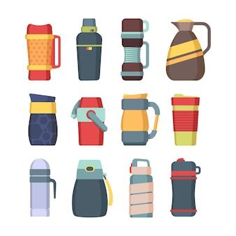 Termos. tazza in acciaio con manico per caffè utensile da cucina fiaschetta sottovuoto per liquidi bottiglie rotonde set vettoriale colorato. termo bottiglia sottovuoto, illustrazione inox sottovuoto