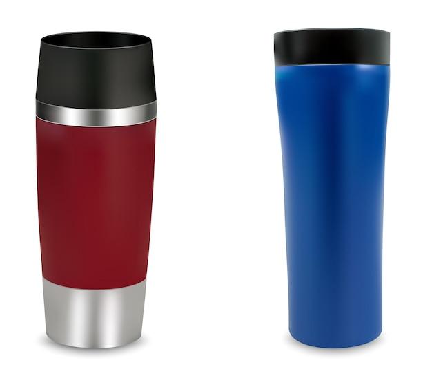 Bicchiere da viaggio thermos, tazze rosse e blu. illustrazione vettoriale