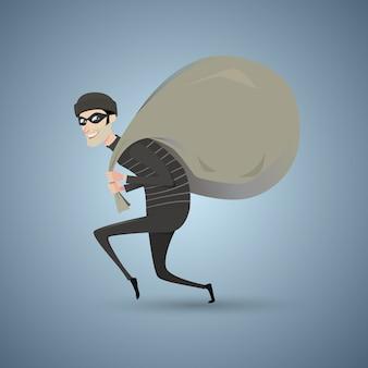 Ladro in abiti neri con una borsa grande.