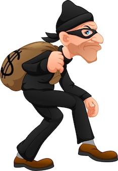 Ladro che trasporta borsa di soldi con un segno di dollaro