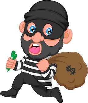Cartone animato ladro che trasporta borsa di soldi con un segno di dollaro