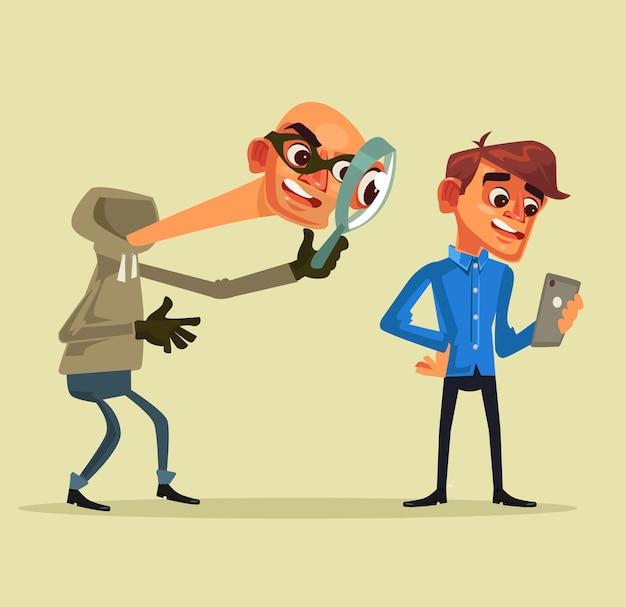 Il personaggio del ladro ruba i dati personali concetto di pesca