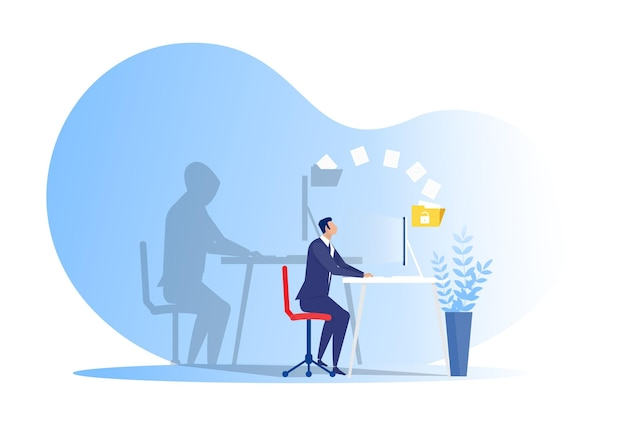 Il ladro scarica o trasferisce i dati personali sul concetto di hacker del computer portatile illustrazione del ladro scarica o trasferisce i dati personali sul concetto di hacker del computer portatile illustrazione