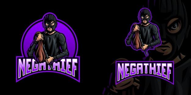 Logo della mascotte di gioco del ladro per lo streamer e la community di esports
