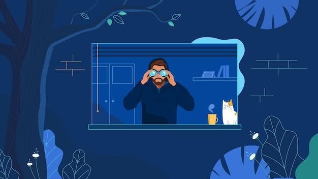 Hacker ladro che osserva tramite il binocolo