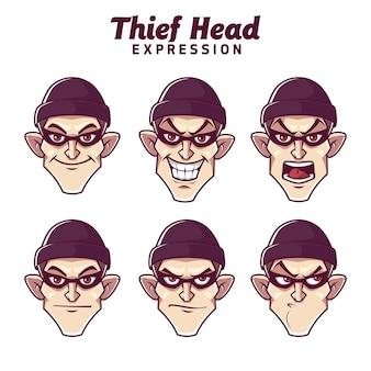 Emoticon di set di espressione testa di ladro