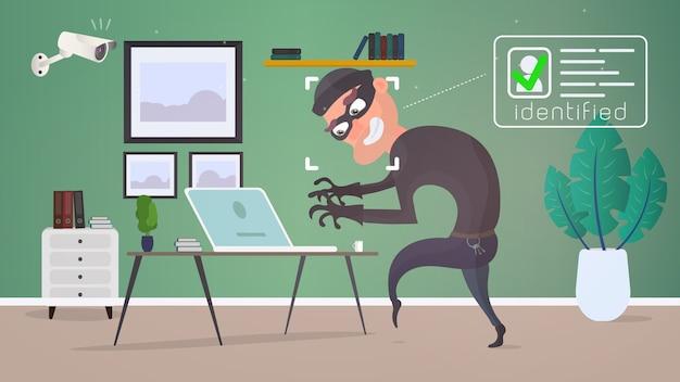 Ladro in casa. la telecamera di sorveglianza ha identificato il ladro. un ladro ruba i dati da un laptop. il concetto di sicurezza e protezione. illustrazione di stile piatto.