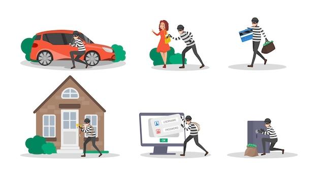 Set di ladro o scassinatore. raccolta di criminali che commettono un crimine. uomo in maschera che ruba denaro, phishing e attacca i dati digitali. illustrazione vettoriale isolato in stile cartone animato