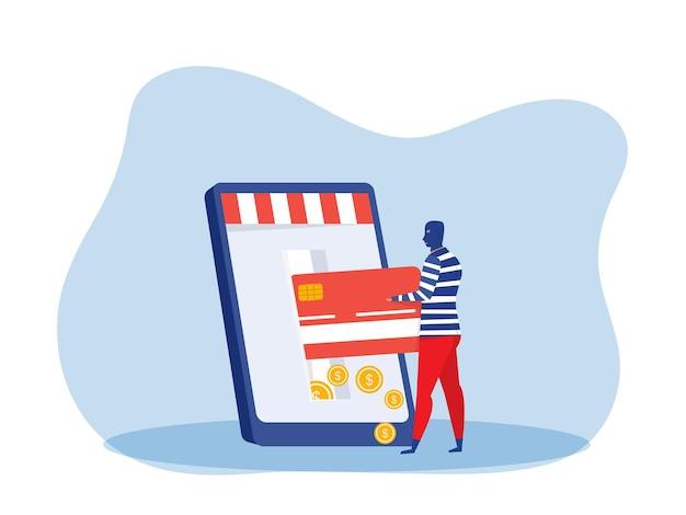 Uomo del ladro che ruba soldi dalla carta di credito sul telefono del computer portatile. illustrazione vettoriale di criminale finanziario, occupazione illegale Vettore Premium
