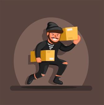 Ladro in esecuzione pacchetto scatola di trasporto sotto i riflettori, concetto di carattere simbolo di prevenzione furto pacchetto negozio online in cartone animato