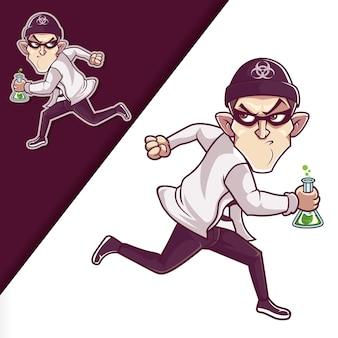 Illustrazione di personaggi dei cartoni animati in esecuzione ladro