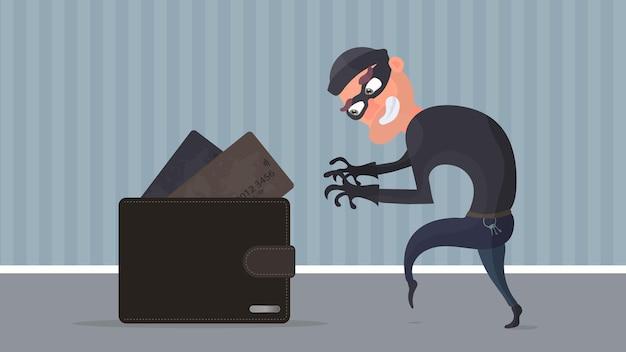 Un ladro che ruba una carta di credito nel portafoglio. un criminale ruba il portafoglio di un uomo. il concetto di frode, frode e frode con denaro. vettore.