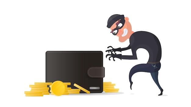 Un ladro ruba un portafoglio di carte di credito. un criminale ruba il portafoglio di un uomo. il concetto di frode, frode e frode con denaro. isolato. vettore.