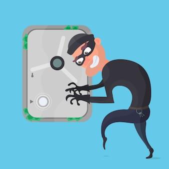 Un ladro ruba soldi da una cassaforte. ladro isolato su uno sfondo blu. il concetto di rapina e sicurezza. illustrazione.