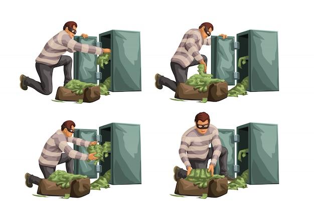 Ladro che prende contanti dalla cassaforte nel set