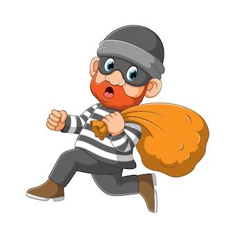 Ladro che indossa la maschera che corre per allontanarsi dall'illustrazione della polizia Vettore Premium