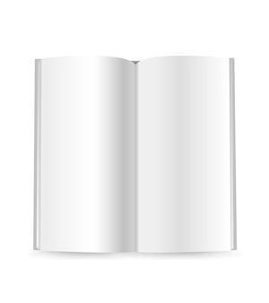 Modello di vettore del libretto sottile isolato su bianco. pronto per un contenuto
