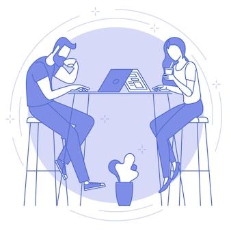 Icona blu linea sottile di lavoro a distanza e freelance.