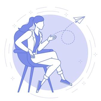 Icona blu linea sottile concetto di idea di progetto di avvio. giovani donne sta lanciando aeroplano di carta.