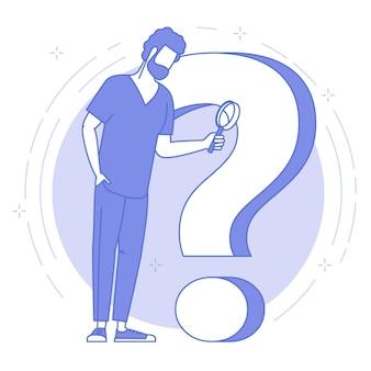 Icona blu linea sottile del giovane con lente d'ingrandimento e punto interrogativo.