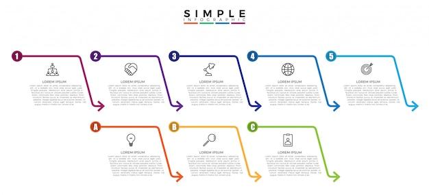 Modello di infographic di affari di linea sottile