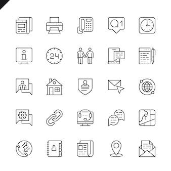 Linea sottile contattaci icone set