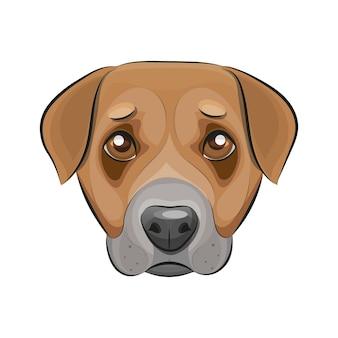 Logo del modello di progettazione di linea sottile. cane carino