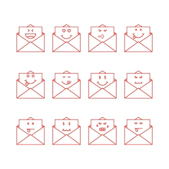 Emoji linea sottile imposta messaggi in lettere. concetto di cassetta delle lettere, semplice chat, buongustaio yum, umorismo, triste, soddisfare, odio, annoiato, rabbia, morto. design grafico moderno del logotipo di tendenza in stile piatto su sfondo bianco