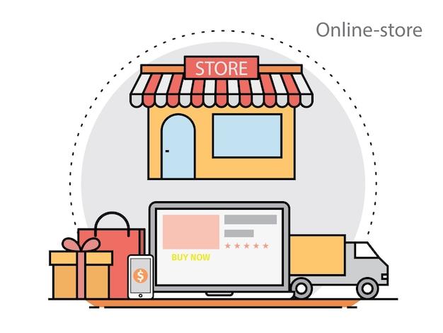 Concetto di design piatto sottile linea di negozio onlie