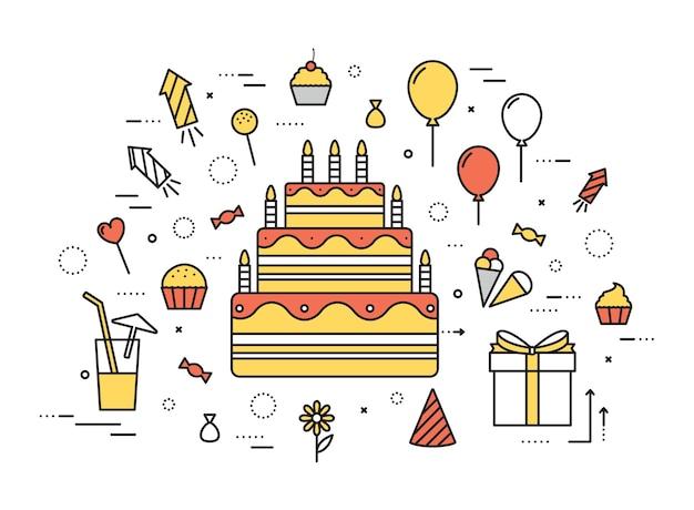 Concetto moderno dell'illustrazione della festa di buon compleanno di linea sottile
