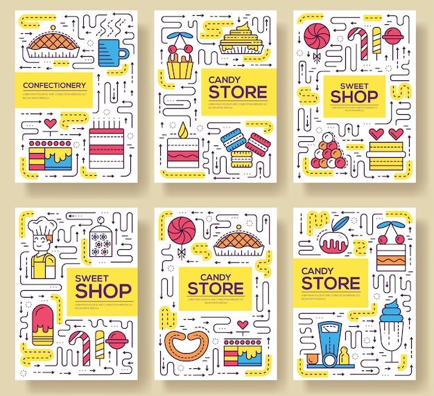 Set di carte da forno di persone felici di linea sottile