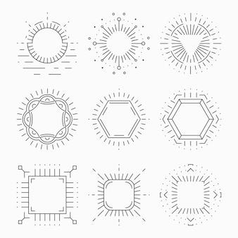 Cornici a vita bassa linea sottile per emblemi e distintivi. elemento o segno retro etichetta vintage, modello di logo, simbolo design laconico,