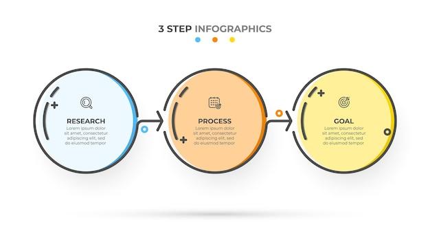 Modello di progettazione infografica linea sottile con frecce e 3 opzioni o passaggi