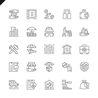 Set di icone di elementi di assicurazione linea sottile
