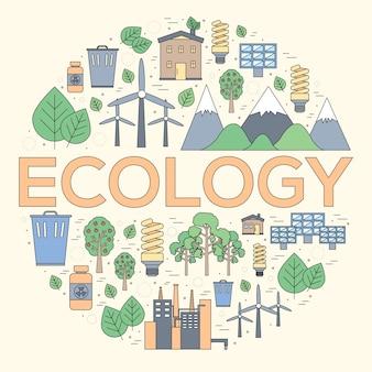 Concetto moderno dell'illustrazione delle risorse naturali di linea sottile