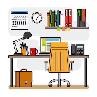 Area di lavoro di ufficio linea sottile o area di lavoro di progettazione linea