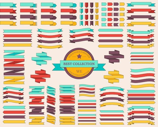 Insieme di linea sottile del concetto di illustrazione di nastri colorati