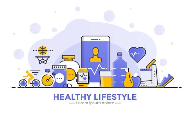 Banner di design piatto sfumato liscio linea sottile di stile di vita sano