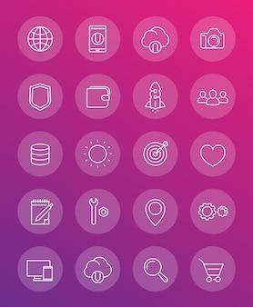 Pacchetto icone web linea sottile